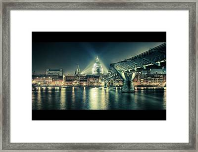 London Landmarks By Night Framed Print by Araminta Studio - Didier Kobi