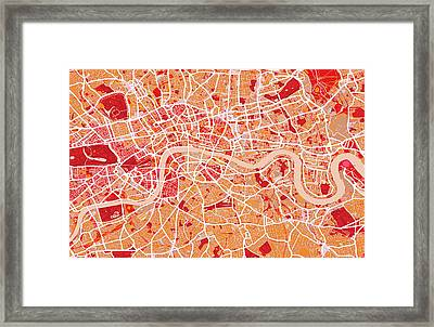 London Map Art Red Framed Print