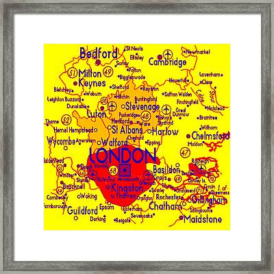 Framed Print featuring the drawing London Map Mock-up by Digital Art Cafe