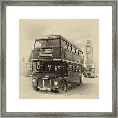 London Old Buses On Westminster Bridge Framed Print