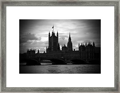 London On A Cloudy Day Bw Framed Print by Kamil Swiatek