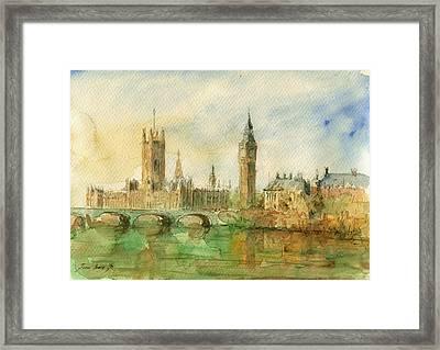 London Parliament Framed Print by Juan  Bosco