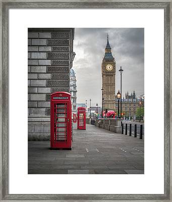 London Phone Booths And Big Ben Framed Print by James Udall