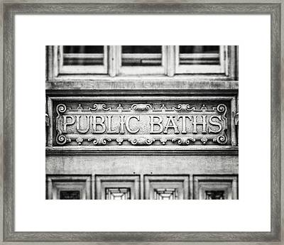 London Photography Public Baths Black And White  Framed Print by Lisa Russo