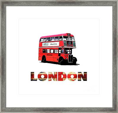 London Red Double Decker Bus Tee Framed Print by Edward Fielding