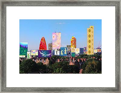 Framed Print featuring the digital art London Skyline Collage 1 by Julia Woodman