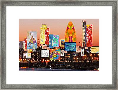 Framed Print featuring the digital art London Skyline Collage 2 by Julia Woodman