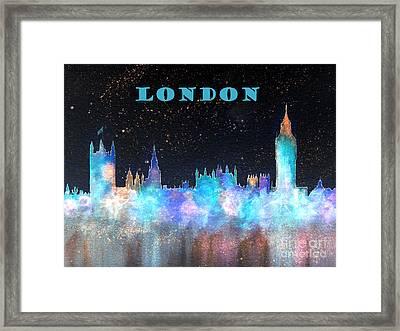 London Skyline With Banner Framed Print by Bill Holkham