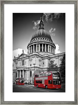 London St. Pauls Cathedral And Red Bus Framed Print