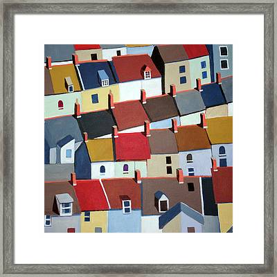 London Terraced Buildings Framed Print by Toni Silber-Delerive