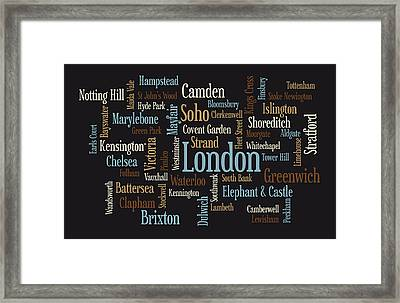 London Text Map Framed Print by Michael Tompsett