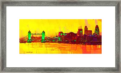 London Thames And Bridge - Pa Framed Print