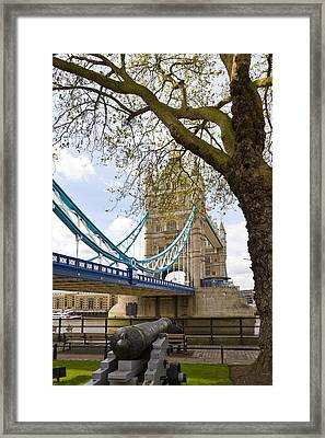 London Tower Bridge And Cannon Framed Print