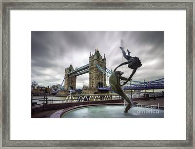 London Tower Bridge And Dolphin Fountain Framed Print