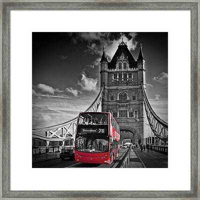 London Tower Bridge And Red Bus Framed Print by Melanie Viola