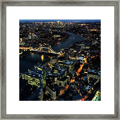 Framed Print featuring the photograph London Tower Bridge At Night by Chris Feichtner