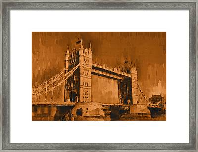 London Tower Bridge Sepia - Da Framed Print by Leonardo Digenio