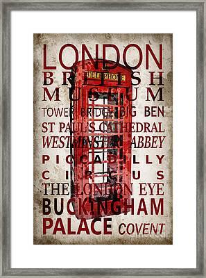 London Vintage Poster Red Framed Print