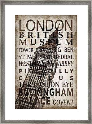 London Vintage Poster Sepia Framed Print