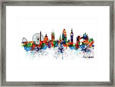London Watercolor Skyline Silhouette Framed Print