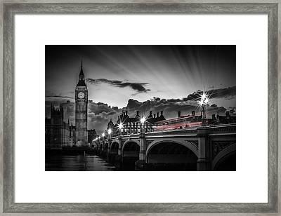 London Westminster Bridge At Sunset Framed Print
