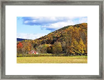 Lone Barn Fall Color Framed Print by Thomas R Fletcher