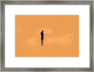 Lone Fisherman Framed Print by David Lee Thompson