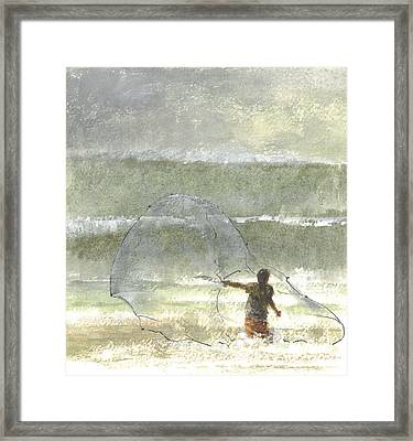 Lone Fisherman Four Framed Print by Lincoln Seligman