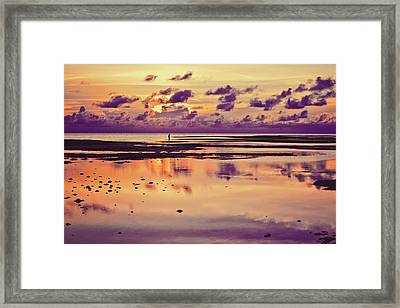 Lone Fisherman In Distance During Beautiful Reflected Sunset With Dramatic Clouds In Maldives Framed Print