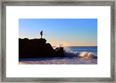 Lone Fisherman - Noosa Heads Framed Print by Susan Vineyard
