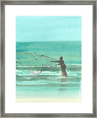 Lone Fisherman One Framed Print by Lincoln Seligman