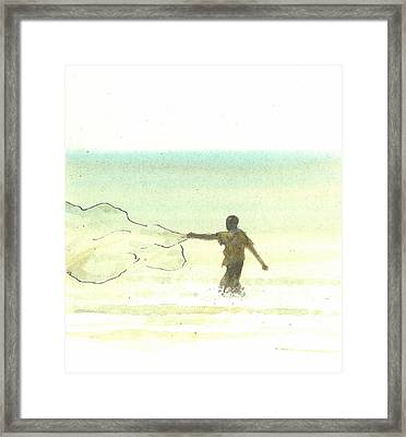 Lone Fisherman Six Framed Print by Lincoln Seligman