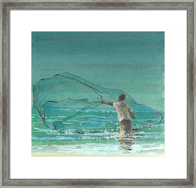 Lone Fisherman Three Framed Print by Lincoln Seligman