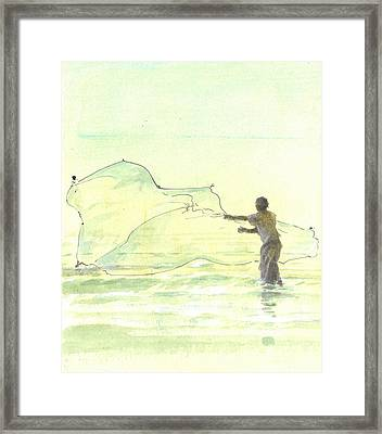 Lone Fisherman Two Framed Print