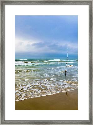 Lone Fishing Pole Framed Print