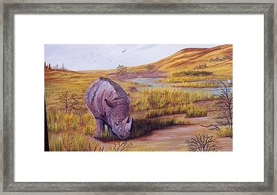 Framed Print featuring the painting Lone Grazer by Myrna Walsh