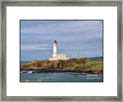 Framed Print featuring the photograph Lone Lighthouse In Scotland by Roberta Byram