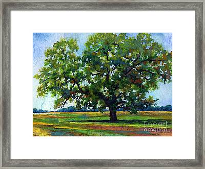 Framed Print featuring the painting Lone Oak by Hailey E Herrera