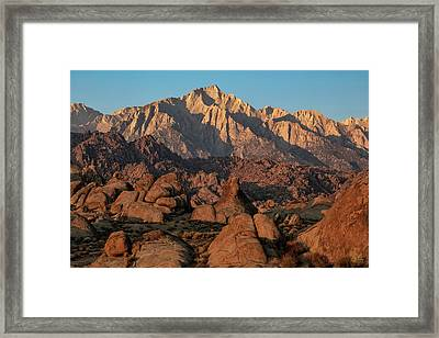 Framed Print featuring the photograph Lone Pine Peak At Sunrise by Stuart Gordon