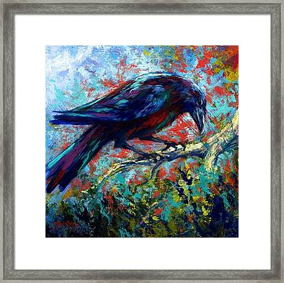 Lone Raven Framed Print by Marion Rose