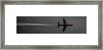 Framed Print featuring the photograph Lone Red Arrow Smoke Trail - Teesside Airshow 2016 by Scott Lyons