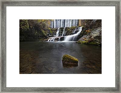 Lone Rock At The Falls Framed Print