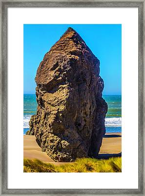Lone Rock Oregon Beach Framed Print