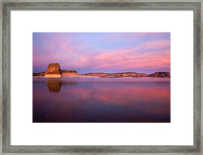 Lone Rock Sunset Framed Print by Mike  Dawson