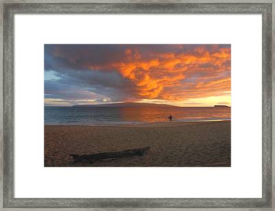 Lone Surfer At Sunset Framed Print by Stephen  Vecchiotti