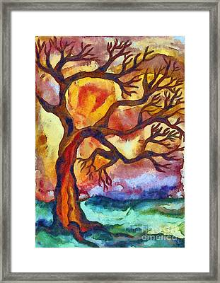 Lone Tree At Sunset Framed Print