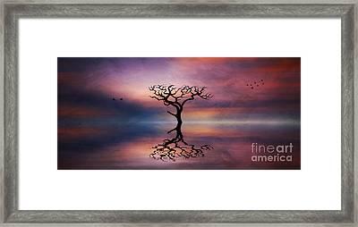 Framed Print featuring the digital art Lone Tree Sunrise by Ian Mitchell