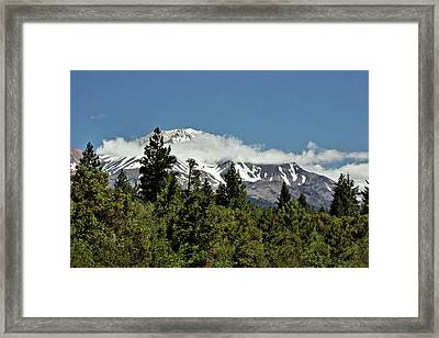 Lonely As God And White As A Winter Moon - Mount Shasta California Framed Print