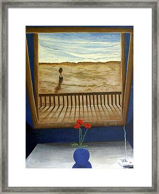 Lonely Beach Framed Print by Georgette Backs