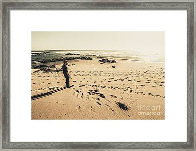 Lonely Beach Sunset Framed Print by Jorgo Photography - Wall Art Gallery
